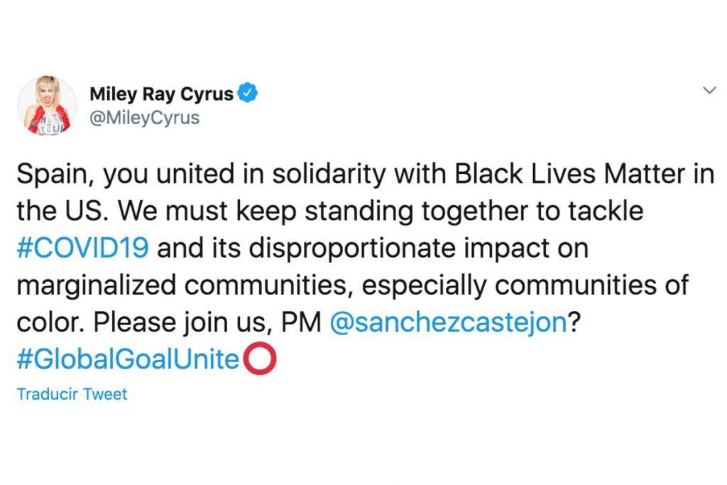 Petición inusual de Miley Cyrus: pedir ayuda a Pedro Sánchez 2