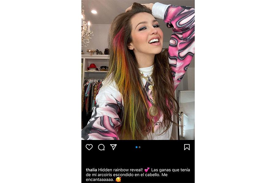 El nuevo cabello arcoíris de Thalía