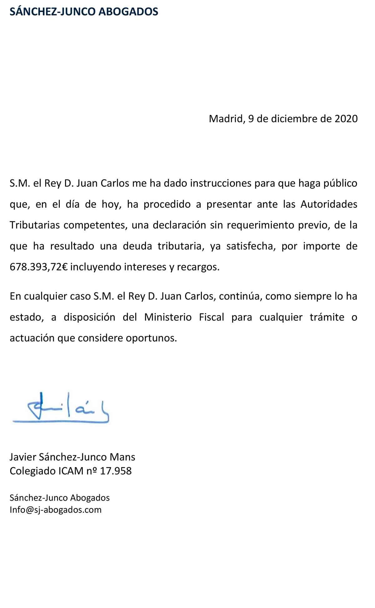 Don Juan Carlos paga 678.000 euros y se pone al día con Hacienda 1