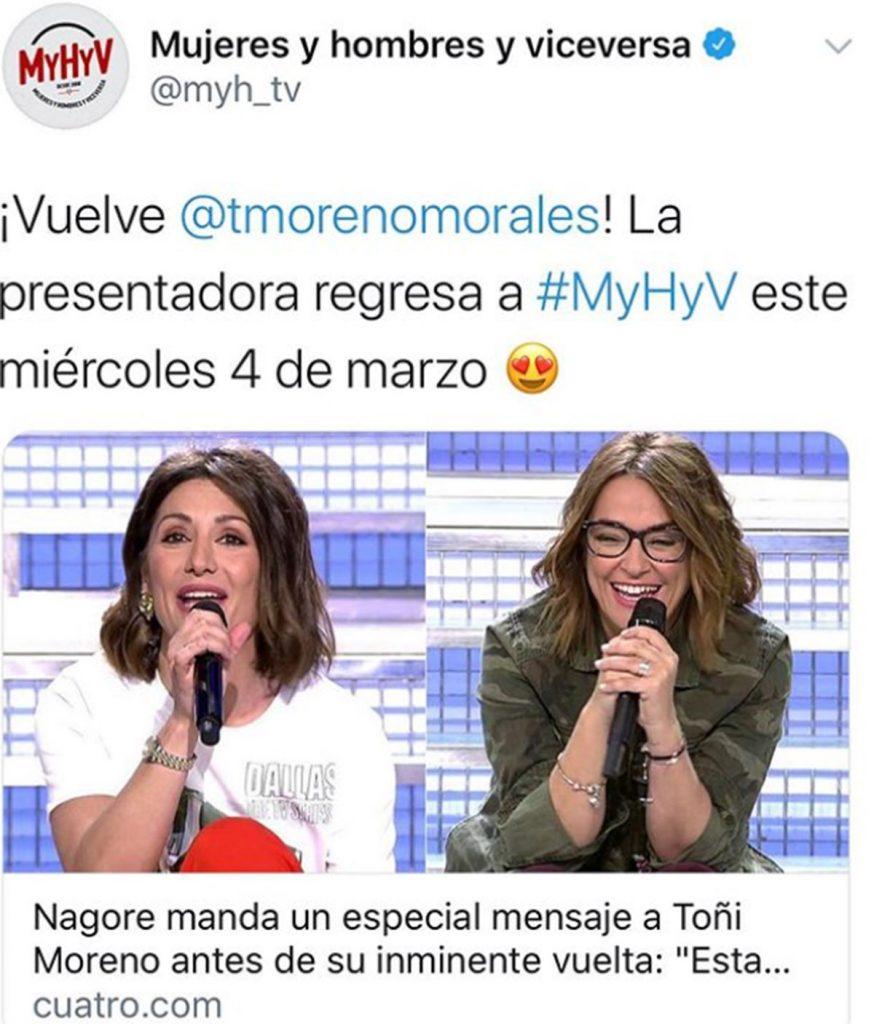 Toñi Moreno anuncia la fecha de su regreso a la televisión 1